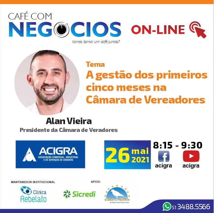Café com Negócios de maio com a participação do presidente da Câmara de Vereadores de Gravataí, Alan Vieira
